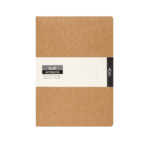 A5 KRAFT NOTEBOOK - UNRULED (PACK OF 2)